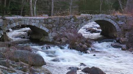 queda : Stationary mid-shot of small, but fairly swift river flowing under a double-arched stone bridge. Frame mostly bridgeriver and a few rocks and trees in background.