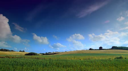 danimarka : Timelapse shot of hillside and open field in Denmark. Clouds in the sky are moving faster than normal speed.