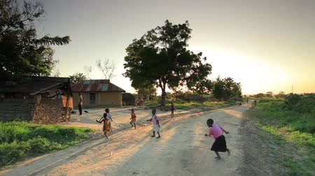 falu : Shot of children playing in the dirt roads in Kenya, Africa. Stock mozgókép