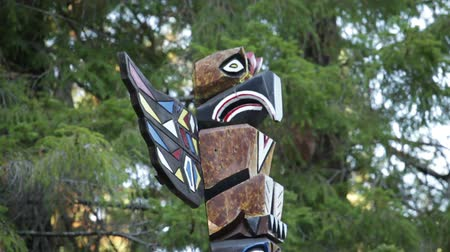 west wing : Steady shot of a carved bird totem pole. California Stock Footage