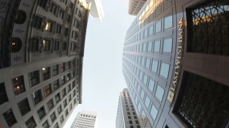 properties : Moving shot, looking up at the skyscrapers lining the street. California