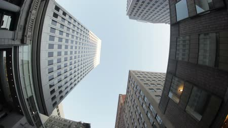 skyscraper : Moving shot, slowly driving past a downtown skyscraper. California Stock Footage