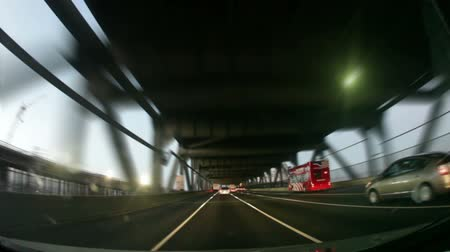 żelazko : Slow-motion shot driving on the lower level of the San Francisco - Oakland Bay Bridge. Eastbound on I-80. California. Wideo