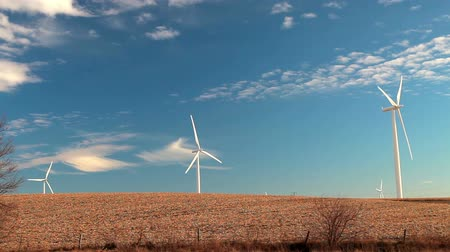 устойчивость : Stationary shot of windmills in an open field with a beautiful cloudy blue sky background, located in Iowa.