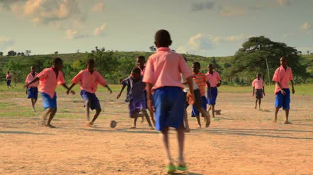 world cup : Boys playing during recess near a village in Kenya two hours north of the Africa city Mombassa.