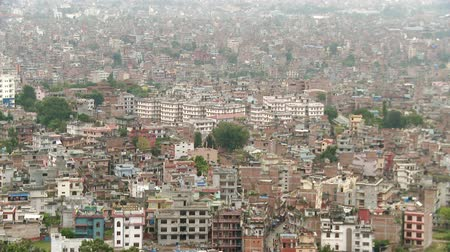 buddhista : Left to right pan of cityscape in Nepal. Stock mozgókép