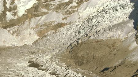 nuptse : A panoramic shot showing the Khumbu Glacier  at the base of Mount Everest.
