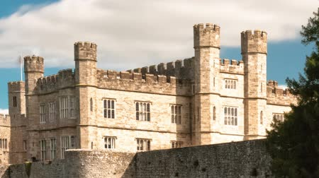 regal : Time-lapse of exterior of Leeds Castle and moat in England. Panning shot.