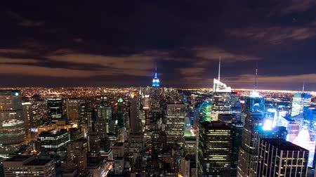 imparatorluk : New York cityscape time-lapse from the Rockefeller building. Shot in New York City, USA. Panning shot.