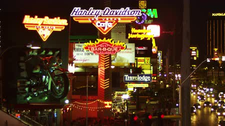 food state : Night footage of Harley Davidson cafe sign and crowded sidewalk. Filmed in Las VEgas Nevada. Stock Footage
