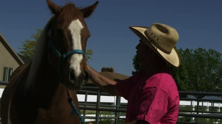 tava : Slow motion pan of a cowboy petting a skewbald horse. Some buildings are seen in the background. Stok Video