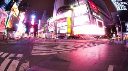 nyc : Time lapse of Times Square at night with traffic and pedestrians. Shot in New York City. Stock Footage