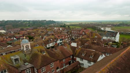 kırsal : Time-lapse of the rooftops of Rye East Sussex England. Stok Video