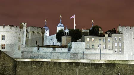 old dungeons : Time-lapse close-up shot in the evening of the Tower of London in London, England. Filmed in October 2011. Stock Footage