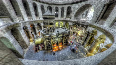 sepulcher : Shot of the Edicule of the Holy Sepulchral time-lapse of tourists walking around. Shot in Jerusalem,Israel