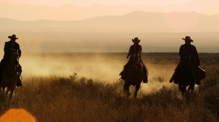 koń : Slow motion silhouette shot of four cowboys galoping towgether in a line,Dusk kicks up as they ride Wideo