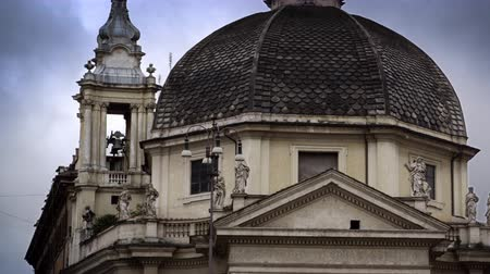 domed structure : Medium shot of domed building with a bell-tower in Italy Stock Footage