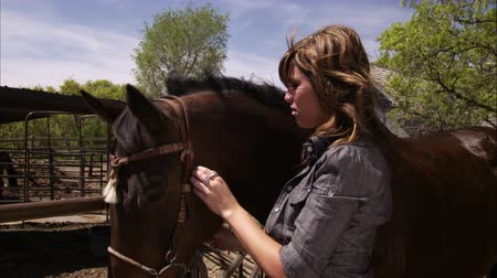 égua : A slow motion shot of a young woman adjusting her horses bridle in a rural area. Filmed with a high speed camera.
