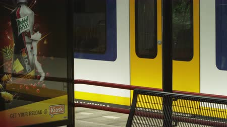 ограждение : Shot of a parked train at a train station in Amsterdam. The shot was taken from the stations waiting area. The camera pans to the left showing a man walking by and a small billboard Стоковые видеозаписи