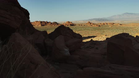 nevada : Tracking shot of desert landscape at elephant rock. Filmed in nevada on September 12,2012 Stock Footage