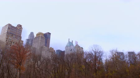 esquerda : Panning shot of buildings in New York City behind colorful trees. The camera pans from left to right.