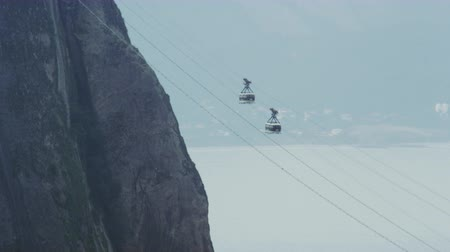 sugar loaf : Static-shot of a cable car going up to the top of Sugarloaf mountain in Rio De Janeiro on an overcast day