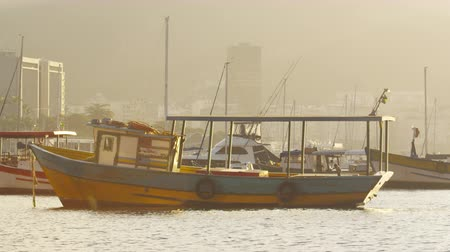gloria : Static shot of a yellow boat in Marina da Gloria among other sailboats. Filmed June 19, 2013 Stock Footage
