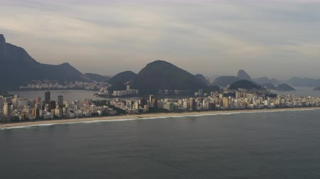 rio de janeiro state : Aerial footage with open ocean and shoreline. Lagoon is included in the shot. Stock Footage