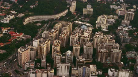latin amerika : Aerial shot or urban architecture - Rio de Janeiro, Brazil. Highrise buildings, roadways, and parks are mapped out within footage.
