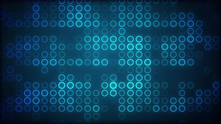 sima : Blue circles in grid pattern fade in and out of light Stock mozgókép