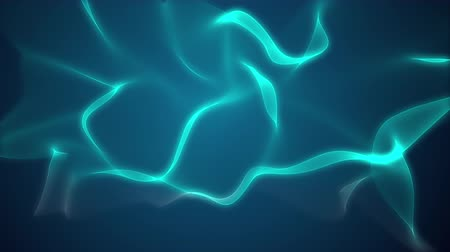 imagem digital gerada : This is a green blue background. Theres a 3D object moving and flowing in the background