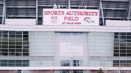 autoridade : Golden, Colorado - August, 2013: Static zoomed view of the Sports Authority Field at Mile High. Stock Footage