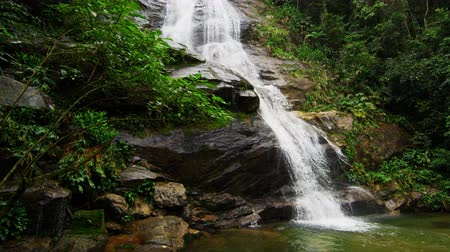 waterfall cascading into pool : Slow motion shot of a jungle waterfall cascading down a dark rocky outcropping into a deep green pool. Tijuca National Park, Rio de Janeiro, Brazil. Filmed June 24, 2013. Stock Footage