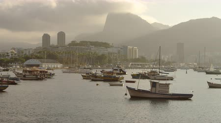 geological feature : Pan of boats anchored at a misty morning Guanabara Bay in Rio de Janeiro. Shot June 19, 2013.