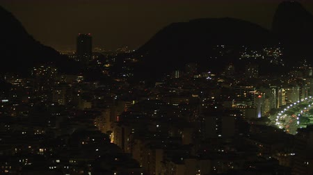 brezilya : Pan of Rio de Janeiro cityscape in Brazil taken at night Stok Video
