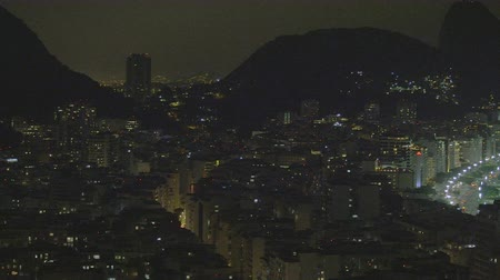 brezilya : Pan of downtown Rio de Janeiro, Brazil taken at night Stok Video