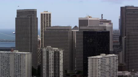 Pan of San Franciscos Bay Bridge and buildings Stock Footage