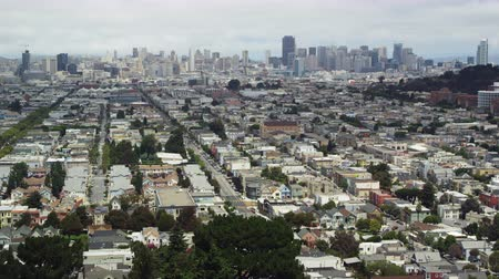 Daylight panoramic of neighborhoods and cityscape view of San Francisco, California Stock Footage