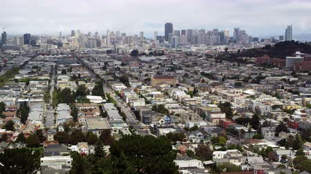Daytime shot of neighborhoods and cityscape view of San Francisco, California