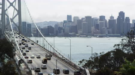 Static shot of Oakland Bay Bridge and cityscape view of San Francisco, California