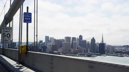 View of San Francisco while driving on the Oakland Bay Bridge