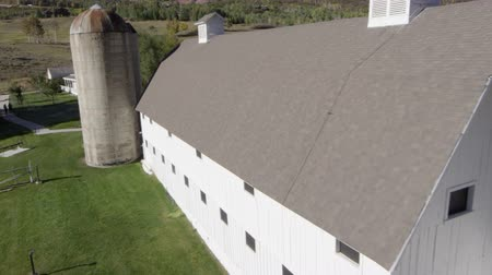 istálló : Aerial pan of a large white barn near Park City, Utah.