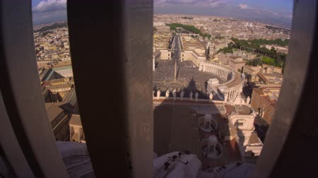 ограждение : Footage of the Vatican and Rome from behind a guardrail atop the dome of St. Peters Basilica. Filmed on May 8,2012