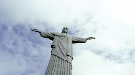 rio de janeiro state : Low angle static footage of Rio de Janeiros monumental sculpture of Christ the Redeemer atop Corcovado Mountain. Filmed June 24, 2013.