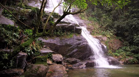 waterfall cascading into pool : Tracking shot of a jungle cascading down a dark rocky outcropping into a deep green pool. Tijuca National Park, Rio de Janeiro, Brazil. Filmed June 24, 2013.