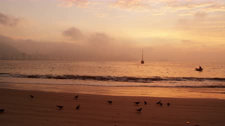afloat : Boats afloat near the beach in Rio de Janeiro, Brazil. The footage was taken at sunset. Stock Footage