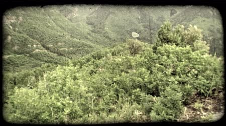 esquerda : Pan, right to left of rocky ledge next to summer mountain view of green, lush canyon mountains and valleys covered with trees and brush with bright cloudy sky above. Vintage stylized video clip.