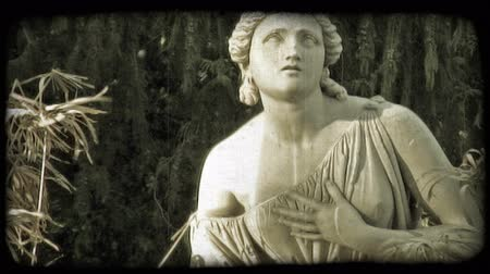 сбор винограда : Close up of a Roman Statue of a woman. Vintage stylized video clip.