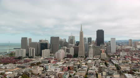 A cityscape timelapse of San Fransico, California during the day, taken from Coit Tower