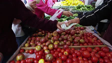 üretmek : A slow pan of people buying fresh tomatoes at an open market in San Francisco,san francisco